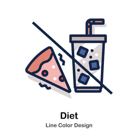Pizza and drinks with strikethrough Line color icon