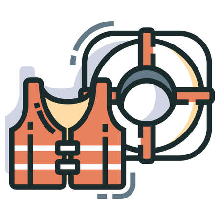 Lifebuoy and life jacket Line color icon