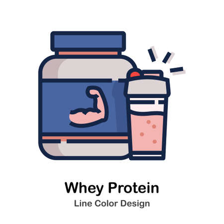 Protein and shaker Line color icon