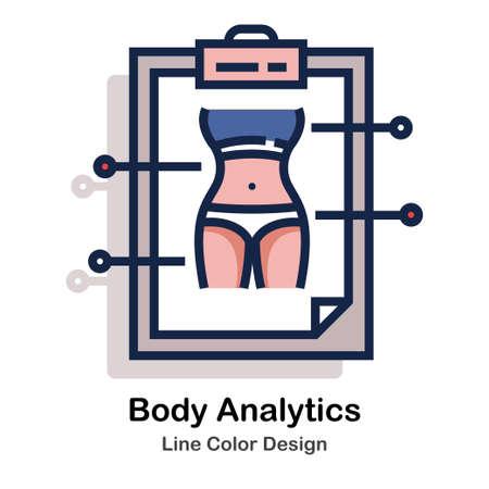 Body analysis the clipboard Icon line color design vector illustration Ilustração