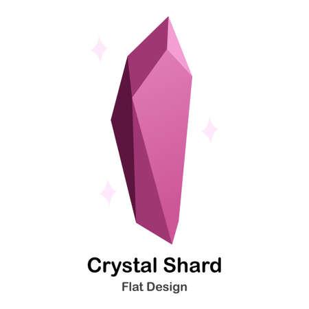 Purple crystal shard flat color design vector illustration Illustration