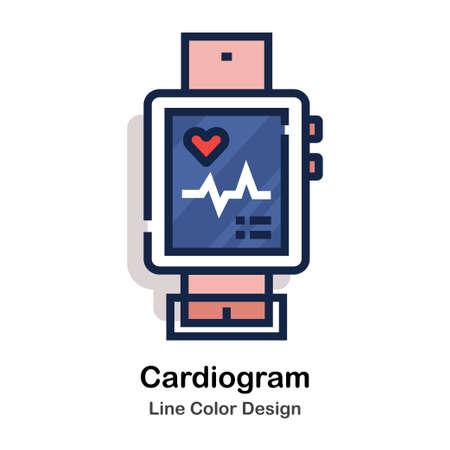Smart watch with pulse Icon line color design vector illustration Illusztráció