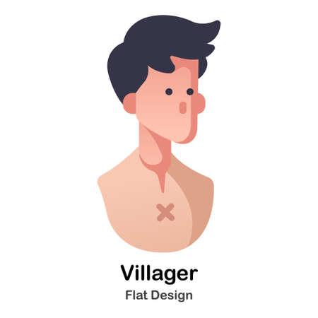 Male with Tattered cloth flat color design vector illustration Illustration