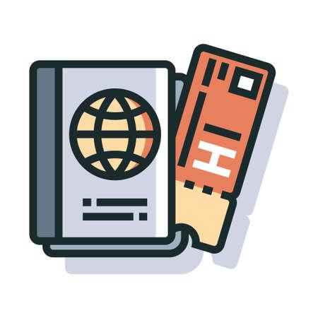 Passport and ticket Line color icon Çizim
