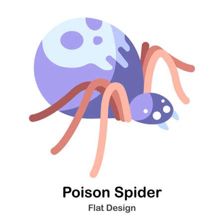 Purple spider with skull symbol flat color design vector illustration Vectores