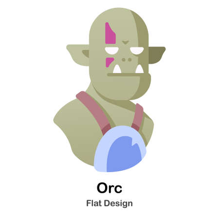 Orc warrior iwth purple war paint Flat Illustration