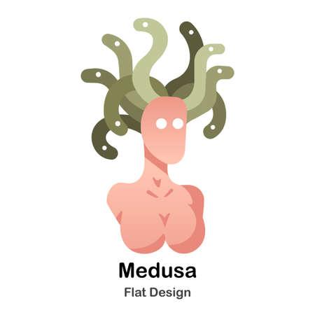 Legendary Medusa monster flat color design vector illustration