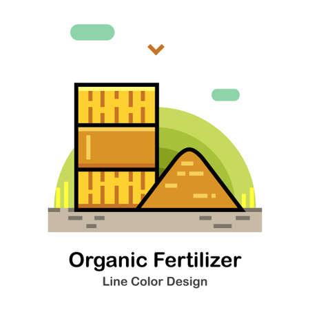 Manure and fertilizer In Line Color Design illustration