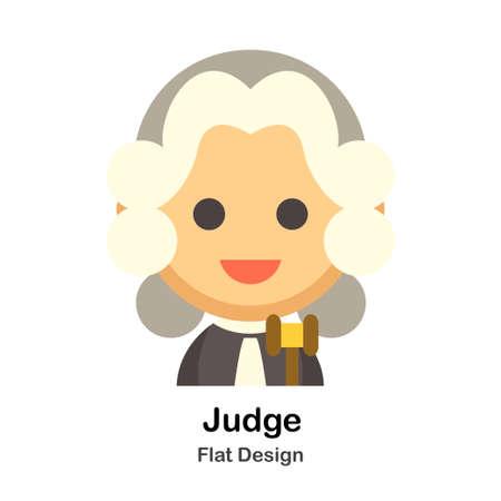 Judge In Flat Color Design Vector Illustration