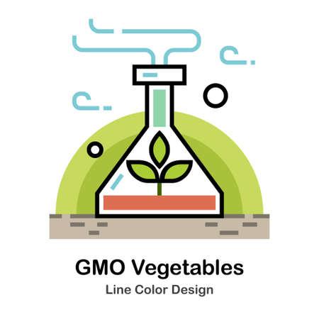 Plants inside chemistry flask In Line Color Design illustration