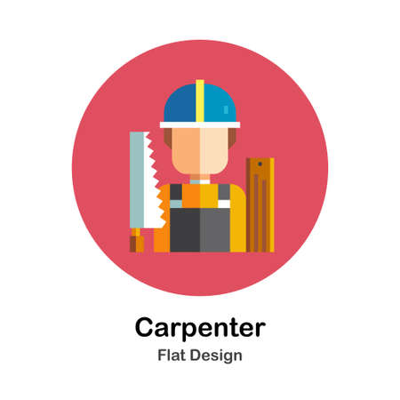 Male carpenter with equipments flat icon