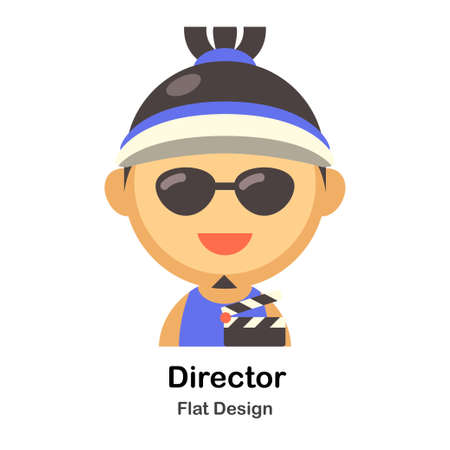 Director In Flat Color Design Vector Illustration Çizim