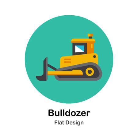 Yellow bulldozer flat icon