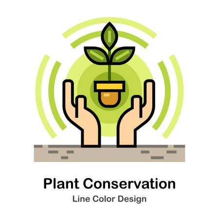 Hands covering seedling In Line Color Design illustration Illustration