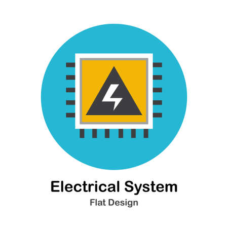 Electical panel with high voltage symbol In Flat Color Design Vector Illustration