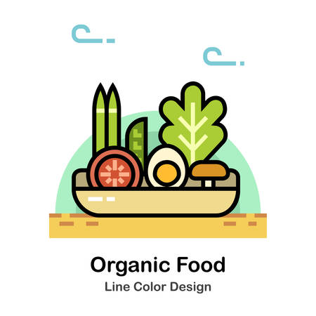 Foods and Vegetables on the basket In Line Color Design illustration