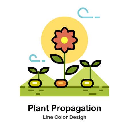 Plant growing In Line Color Design illustration Ilustração