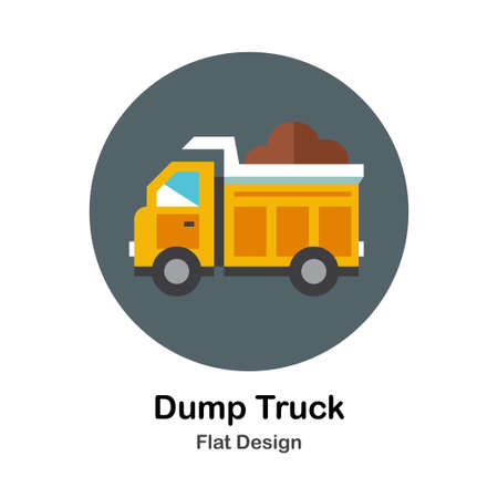 Yellow dump truck with fully loaded construction sand flat icon Illustration