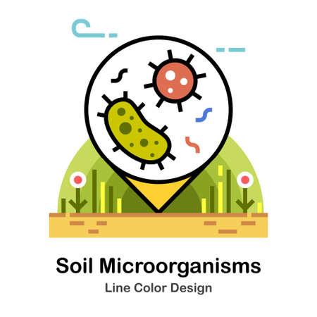 Bacteria under soil In Line Color Design illustration Illustration