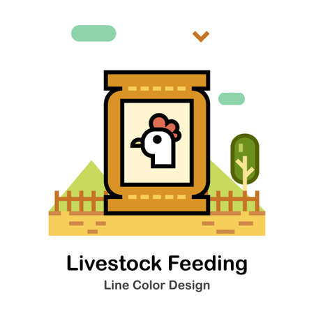 Livestock Feeding food in the bag Line color icon 向量圖像