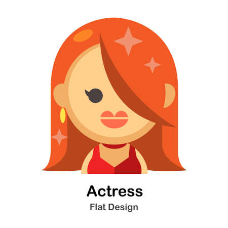 Actress In Flat Color Design Vector Illustration