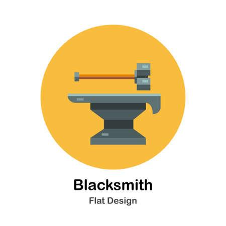 Blacksmith hammer and iron anvil flat icon