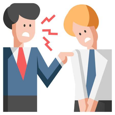 Boss admonishing the employee flat illustration Illustration