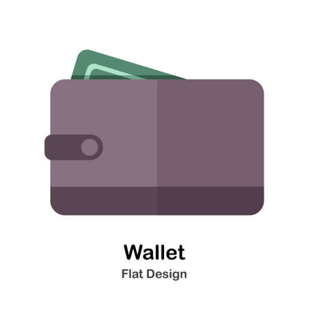 Wallet fill with cash In Flat Color Design Vector Illustration Çizim