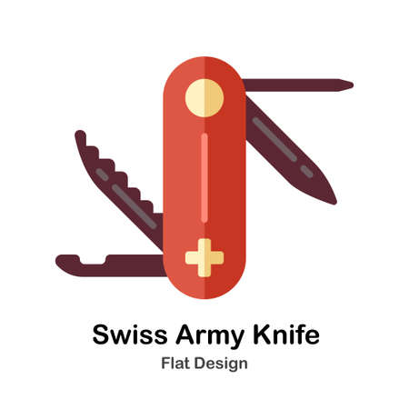 Swiss Army Knife In Flat Color Design Vector Illustration