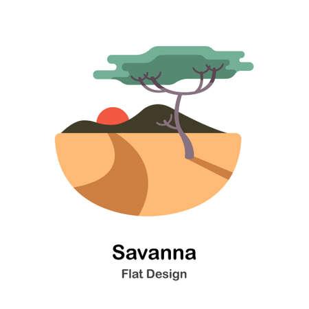 Savanna In Flat Color Design Vector Illustration Çizim
