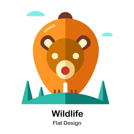 Wildlife In Flat Color Design Vector Illustration