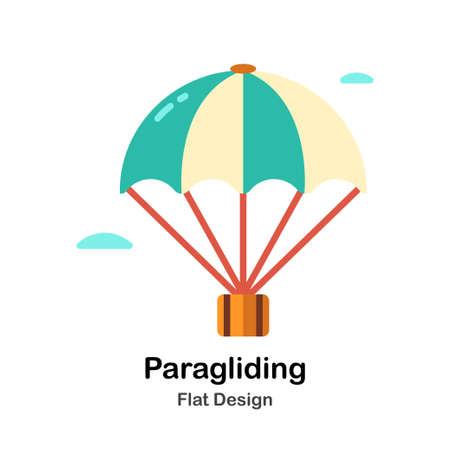Paragliding In Flat Color Design Vector Illustration