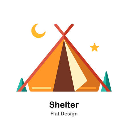 Shelter In Flat Color Design Vector Illustration