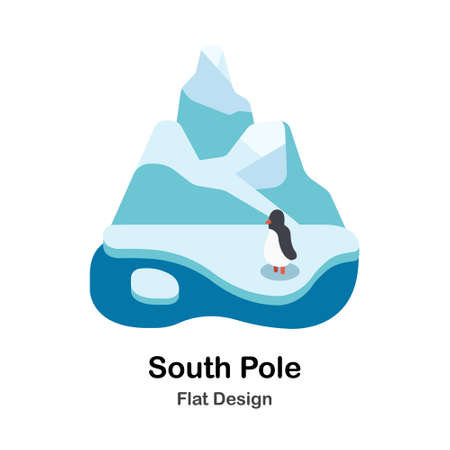 South Pole iceberg and penguin In Flat Color Design Vector Illustration Ilustrace