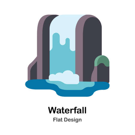 Waterfall In Flat Color Design Vector Illustration
