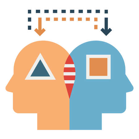 Analog thinking vector illustration in flat color design