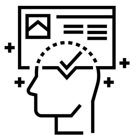 Brand awareness vector illustration in line stroke design Çizim