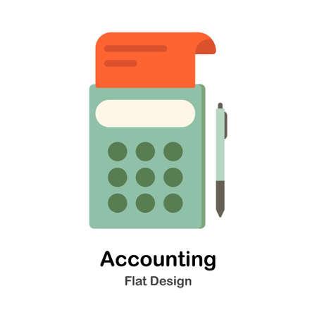 Calculator and bill In Flat Color Design Vector Illustration