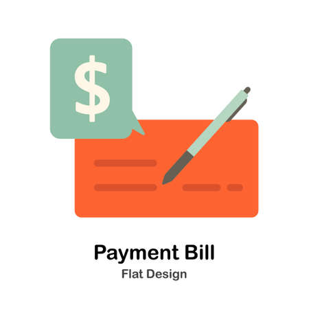 Payment Bill with pen Flat vector Illustration