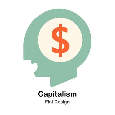 Capitalism Idea In Flat Color Design Vector Illustration Illusztráció