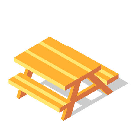 Picnic table vector illustration in isometric design
