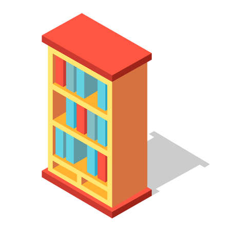 A bookcase vector illustration in isometric design