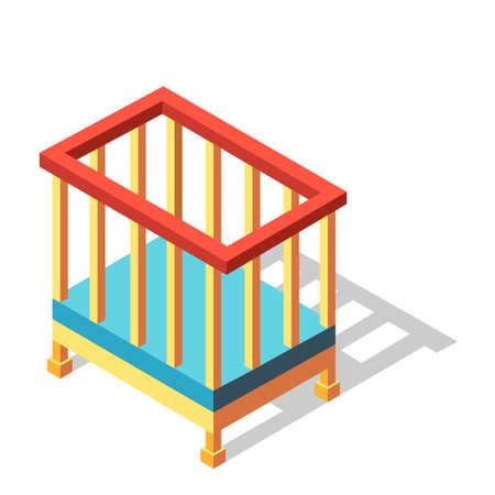 Illustration vectorielle de lit bébé dans la conception isométrique