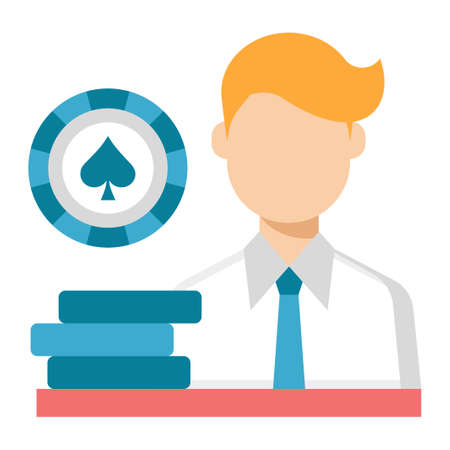 A gambler vector illustration in flat color design