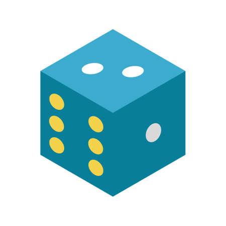 A dice vector illustration in flat color design