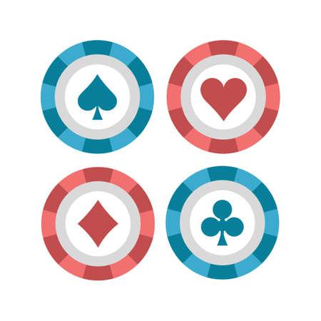 Poker chips vector illustration in flat color design 向量圖像