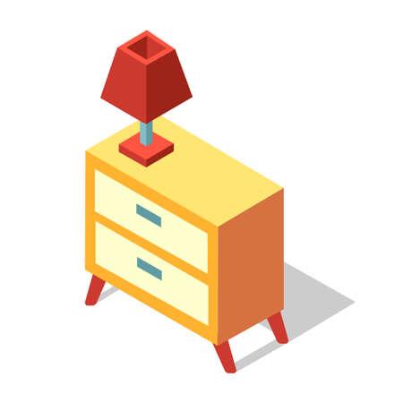 Lamp on a bedside cabinet vector illustration in isometric design