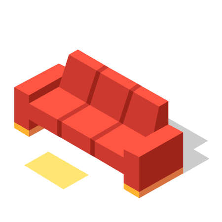 Red couch vector illustration in isometric design