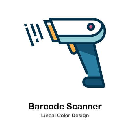 Icône de code à barres en illustration vectorielle de conception de couleur linéaire