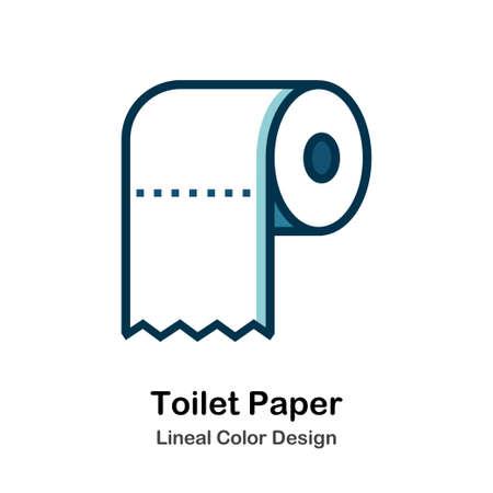 Icona di carta igienica nell'illustrazione di vettore di progettazione di colore lineare Vettoriali